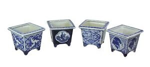 Set of 4 Asian Design Blue and White Mini Planter Pots 5 Inches High