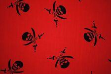 1m Rosso & Nero Jolly Roger Pirata Teschi in Tessuto Poli Cotone artigianato Quilting