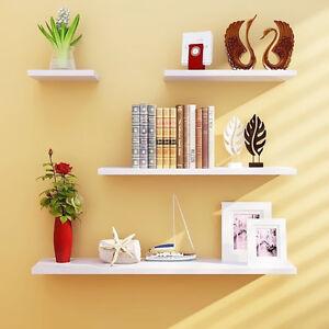 4pcs Wall Shelves Set Shelf Floating Display Decor Home Wood Wall Mount HDRA293