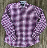 BUGATCHI Shaped Fit Heavy Cotton Square Button Plaid Men's Large Shirt