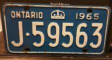 1965 Ontario Canada J-59563 License Plate
