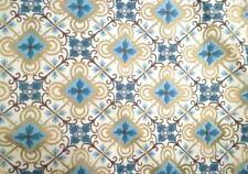 Vintage Curtains & Valance Turquoise Blue Gold Cream Polished Cotton 1950s