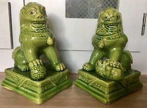 Vintage Pair Of Foo Dogs Green Temple Lions 8 Inch