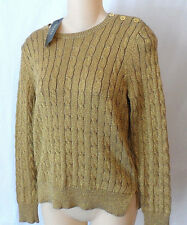 Ralph Lauren Petites Gold Metallic Sparkle Crew Neck Sweater Size Medium NWT