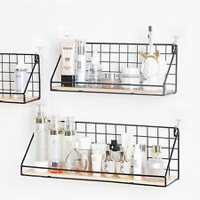 Industrial Vintage Wall Shelf Mounted Metal Wire Wood Rack Storage Unit Display