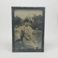 Vintage Black & White Framed Photograph Of A Little Girl In A Dress