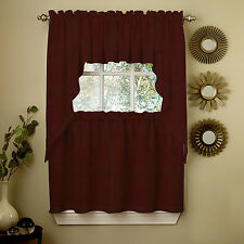 Wine Opaque Solid Ribcord Kitchen Curtains Choice of Tier Valance or Swag