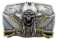 STEAM PUNK PIRATE SKULL 3D BELT BUCKLE FITS 1 1/2 INCH WIDE BELT STRAP NEW