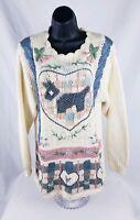 Beldoch Popper Women's Ivory Dog Floral Crochet Sweater Long Sleeve Size Med