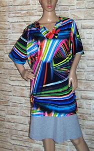 MIAMODA Damen Slinkyshirt weich fließend m. halblang Arm Allover Muster Größe 54