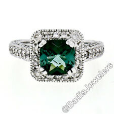 14K White Gold 3.65ctw Cushion Checkerboard Green Tourmaline & Diamond Halo Ring
