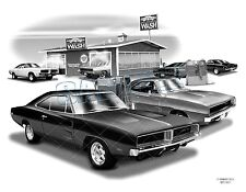 CHARGER 68, 69 MUSCLE Auto Art Car Print  #5001   **FREE USA SHIPPING**