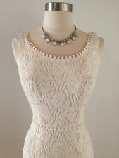 Vintage 1960's Wedding Dress Gown Lace Crochet Bridal Ivory Size Small Jacket