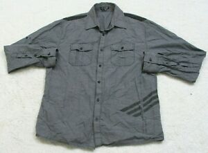 At Collins Gray Dress Shirt Cotton Long Sleeve Mans Button Up Large Two Pocket