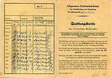 (464) QUITTUNGSKARTE AOK Aschaffenburg Main 1963 - 1965