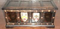 Vintage Wooden Music Box Trinket Box - Made in England Crest Shield Motif