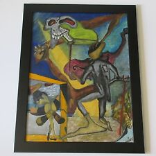 VINTAGE FOLK SURREALISM OUTSIDER ABSTRACT PAINTING MODERNISM NUDE SKULL PIANO