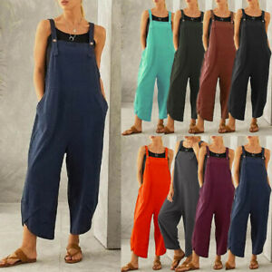 Womens Trousers Loose Dungarees Ladies Buttons Loose Tops Overalls Jumpsuit Pant