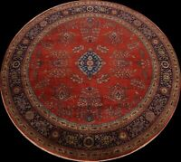 Vegetable Dye Floral Sarouk Oriental Area Rug Hand-knotted Carpet 10'x10' Round