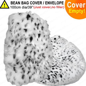 2021 Cute Fluffy Snow Leopard Fur Bean Bag Sofa Without Padded Floor Chair Top