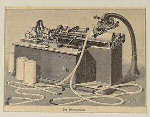 PHONOGRAPH - alter Stich Holzstich um 1880