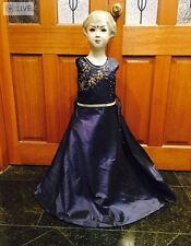 "22"" Age Size 2 To 3 Fancy Bollywood Indian Western Girls Party Dress Navy Blue"