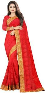 Nine Sister Red Embroidered Universal Designer Saree , With blouse-QYd