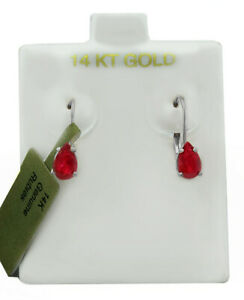 GENUINE 1.40 Cts PADPARADSCHA SAPPHIRE DANGLING EARRINGS 14K GOLD * New With Tag