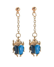 NEW Egyptian Scarab Beetle Insect Vintage Enamel Blue & Gold Chain Earrings