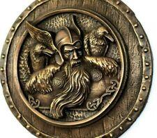 Scandinavian Folk Art Norse God Odin Ravens Wall Bronze Sculpture Home Decor