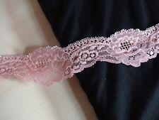 Französische elastische Spitze,Spitzenborte,lace in rosa mit silber 5cm breit