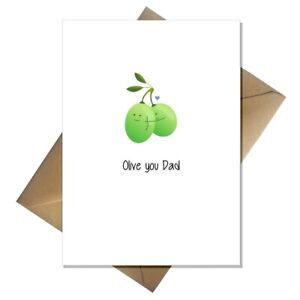Cute Fathers Day Card - Olive you Dad