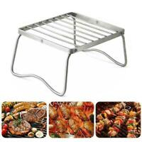 Stainless Steel Foldable BBQ Stand Portable Barbecue Grill-Holder Camping Y8I2