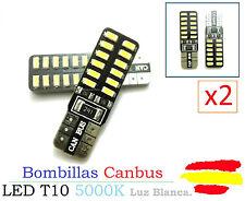 x2 Bombillas Canbus LED T10 W5W SMD Luz Blanca 6000K COB 6W Xenon Coche