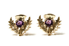 9ct Gold Amethyst Scottish Thistle Stud earrings Gift Boxed Studs Made in UK