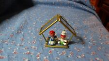 Christmas Ornament Wood Children in Glass Metal Building  2 3/8 Inch High