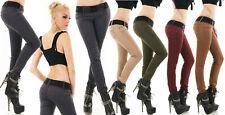 Pantalone cotone donna skinny elasticizzato cintura elastica vita bassa nuovo