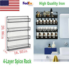 New listing 4-Layer Black Wall-Mounted Spice Rack For Cabinet Sideboard Doors
