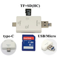 For Macbook Tablet Android Phone TYPE-C Micro USB OTG Adapter TF SD Card Reader