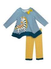Rare Editions Teal Stripe Yellow Dot Zebra Legging Set Fall 12 Months