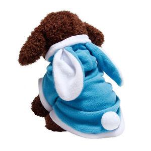 Classic Rabbit Dog Clothes Pet Puppy Warm Vest Fleece Cat Hooded 3 Colors XS-XL