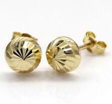 .70gr Mens Ladies 14k Real Yellow Gold Sphere Circle Diamond Cut Earrings Studs