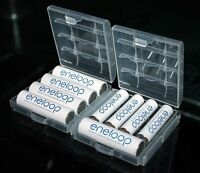 2 x Hard Plastic Case Holder Storage Box Cover for Rechargeable AA AAA Battery A