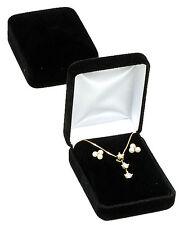 """Black Velvet Pendant  Earring Jewelry Gift Box 2 1/4"""" x 3"""" x 1 1/4""""H"""