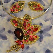 Dolly-Bijoux Fantaisie Parure 2 en 1 Grande Fleuille de Diamant Cz Multicolore