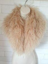 Ivory Beige Lambs Fur Large Collar Neck Shawl Winter Scarf £129.99