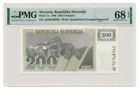 SLOVENIA banknote 200 Tolarjev 1990 PMG MS 68 Superb Gem Uncirculated
