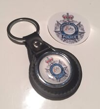 Australian Federal Police Real Leather Keyring & Sticker