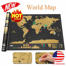 Deluxe Scratch Off World Map Personalized Travel Journal Log Poster Atlas Decor