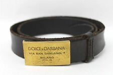 DOLCE & GABBANA Men's Brown Distressed Leather Belt With Golden Buckle 40